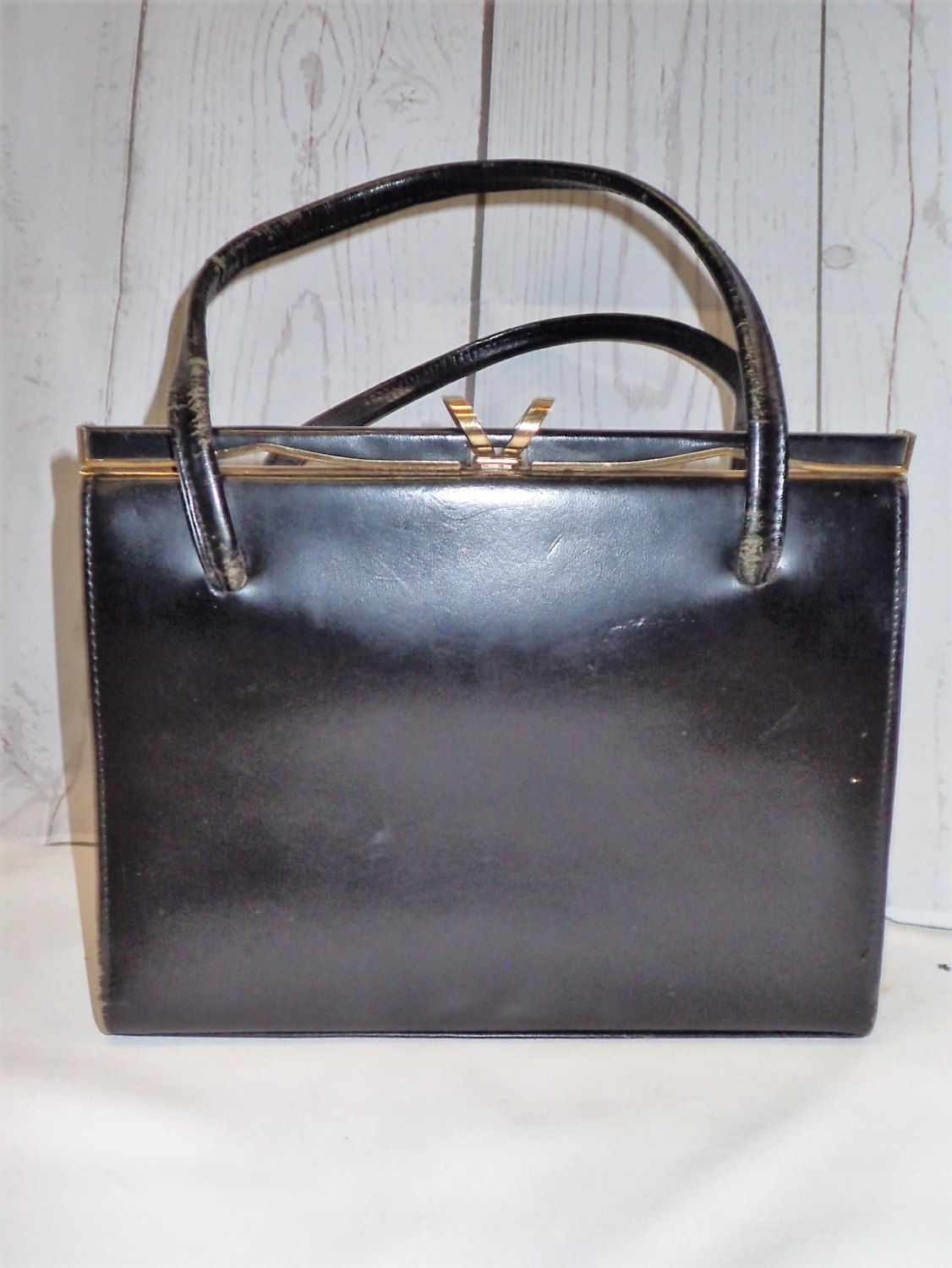 Vintage Black Classic Leather Handbag W Gold Hardware Ackers London Crouch Fitzgerald Made In England Shoulder Bag Top Handle By Doingitsober