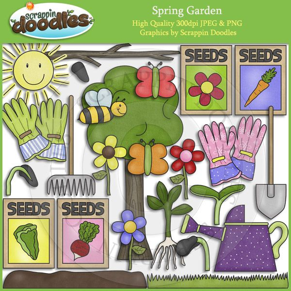 spring garden clip art by scrappindoodles on etsy