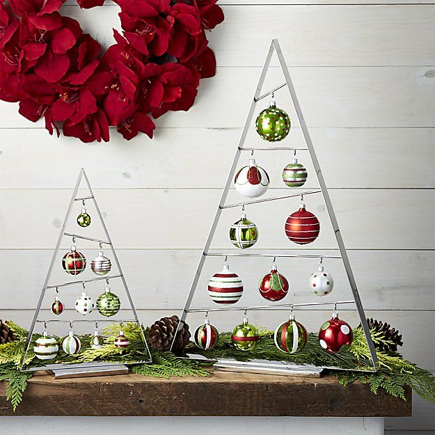 Modern A-frame ornament tree is angled just so to display ...