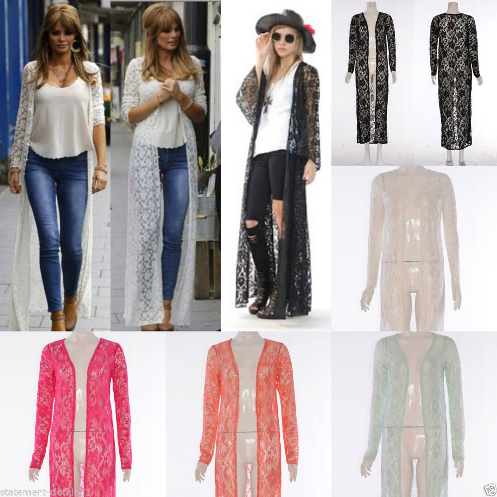 Long lace cardigan shirt jumper jacket maxi dress abaya kimono ...