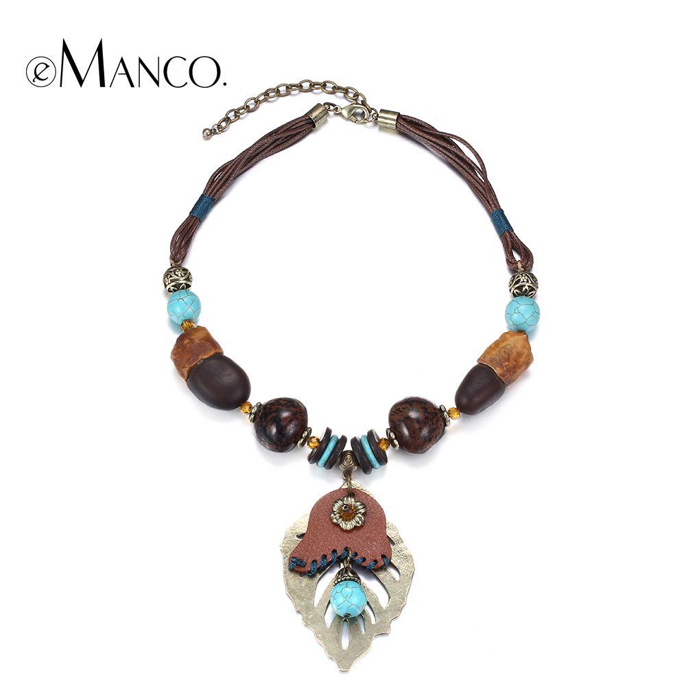 eManco Statement Necklaces Tassel Long Pendant Turquoise Beads Decorations Jewellery for Women UwKaiL