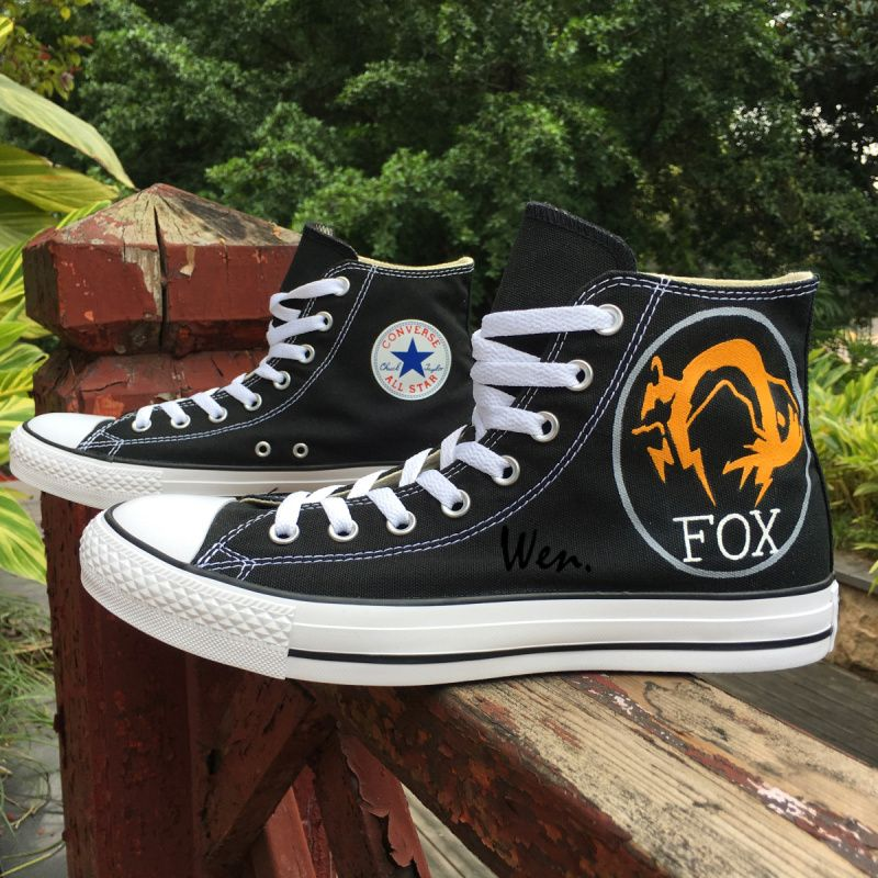 dffb1ce0024185 Painted Converse All Star Shoes Fox Logo Hand Painted Artwork Canvas Black  Mens Fashion Sneakers.