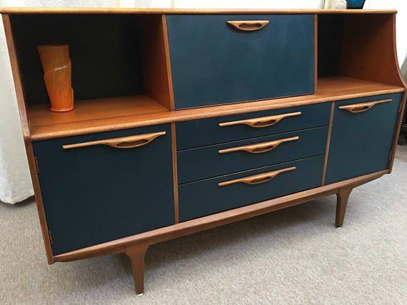 Jentique Sideboard Drinks Cabinet Highboard Buffet Etsy Restoring Old Furniture Sideboard Drinks Cabinet Teak Handle