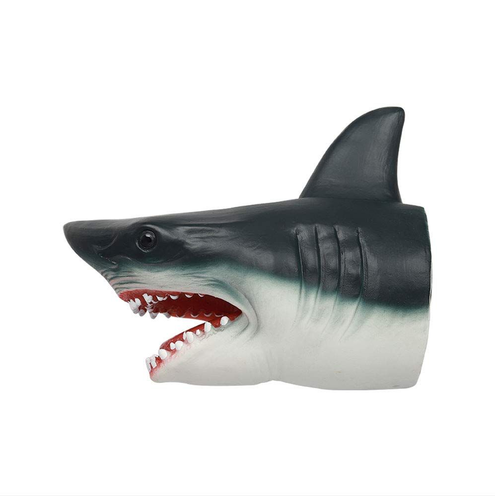 Shark Hand Puppet Soft Stretchy Rubber Jaws Kid Baby Toy Shark Stretchy Grey New