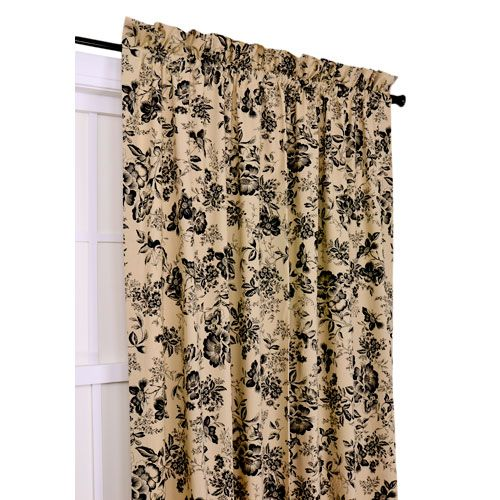 Palmer Black Floral Toile 50 Inch By 72 Inch Tailored Panel