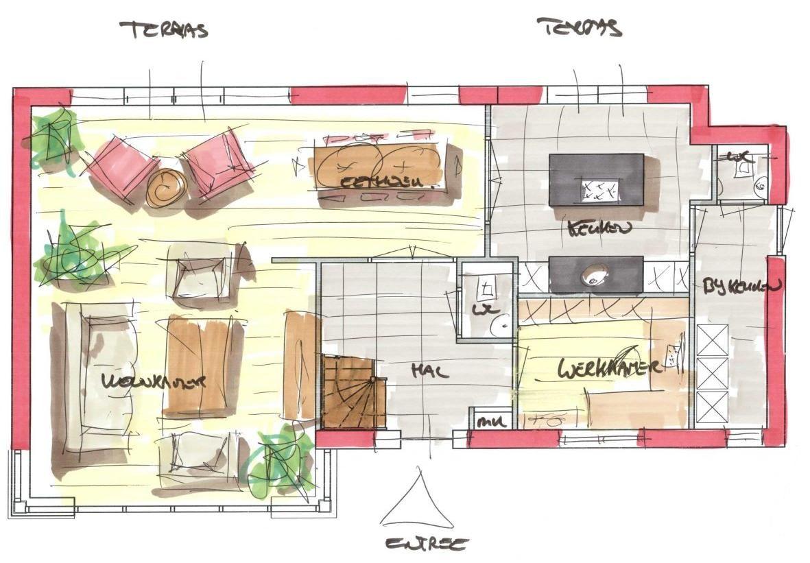 Optie indeling alleen is die tweede wc uiteraard niet nodig de richting naar terras is hier for Afbeelding van moderne huizen