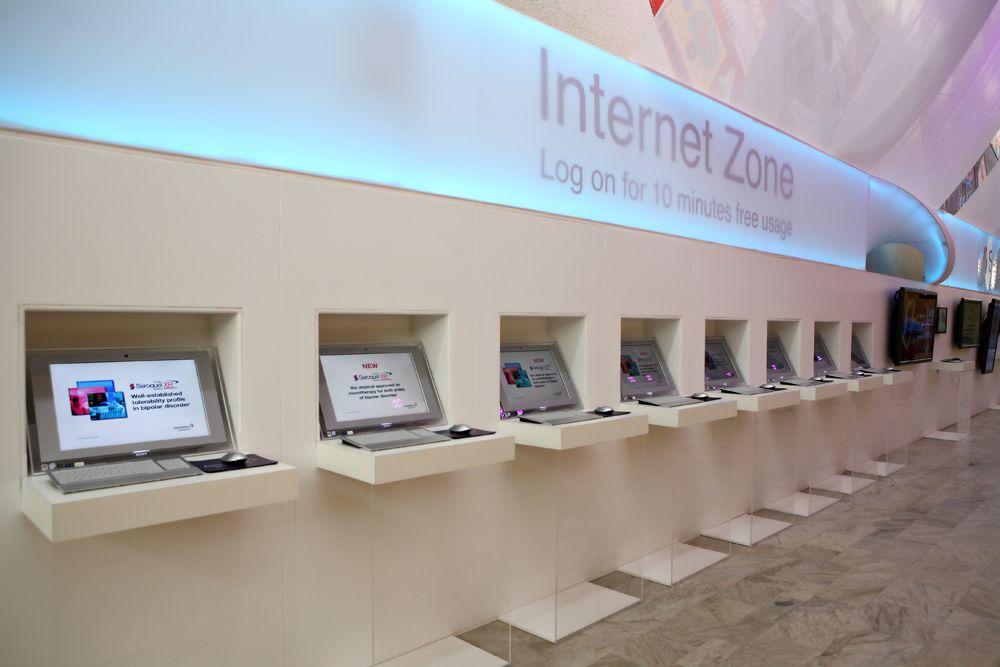 Exhibition Stand Lighting Zone : Astrazeneca internet zone with featured lighting exhibition