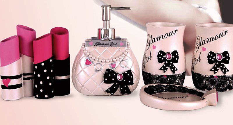 ♡ ElegantBath Collection Glam Girl Bath Accessories - the ultimate girly gift! Perfect for fashionistas and those who love the combination of pink and black! ♡