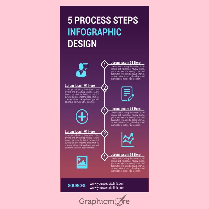 5 Process Steps Infographic Design Free PSD File ...