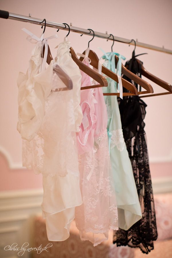 Our sleepwear/lingerie ready for action... Pure silk, lace and ribbons...