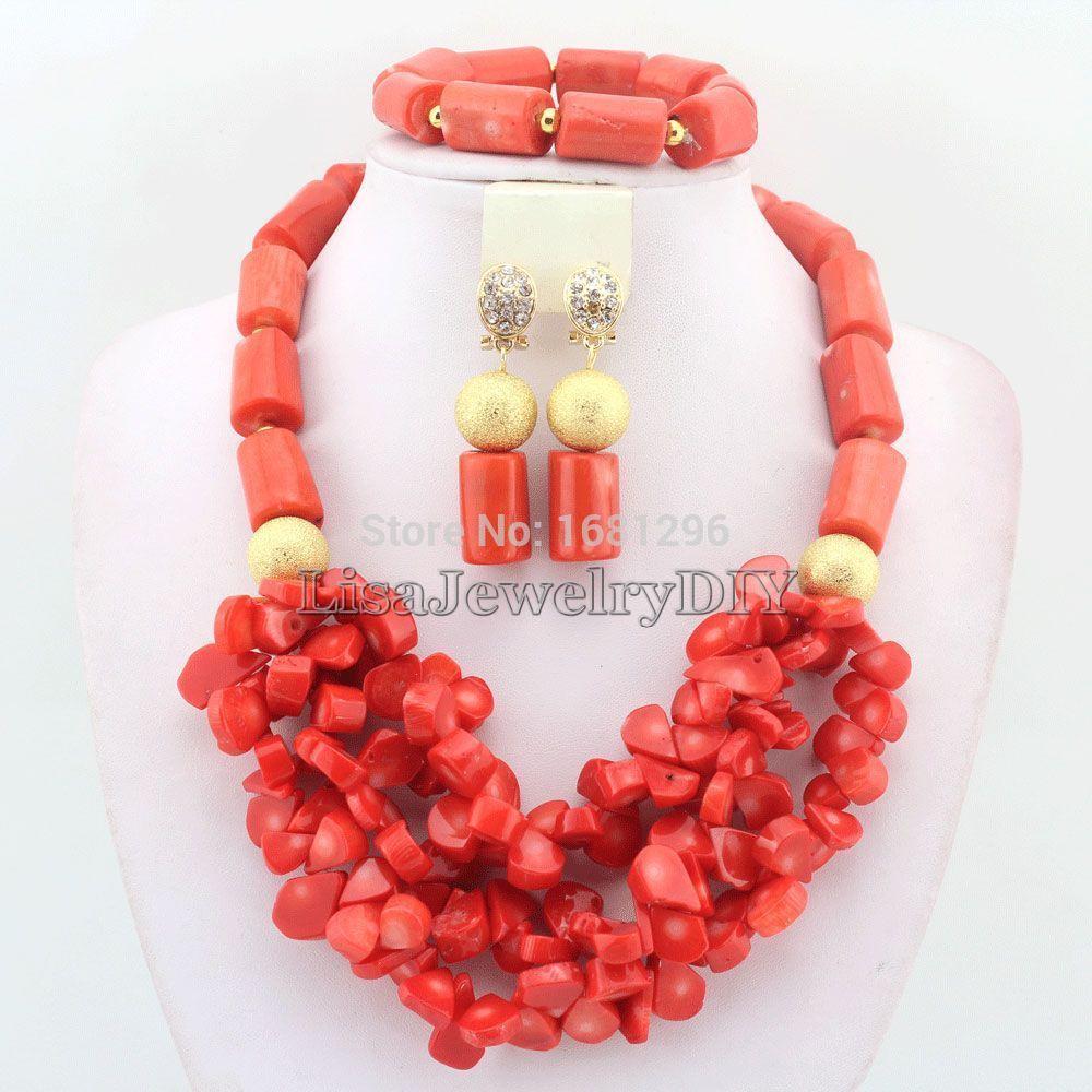 Wedding decorations nigeria  Amazing African Nigerian Wedding Orange Coral Beads Jewelry Sets