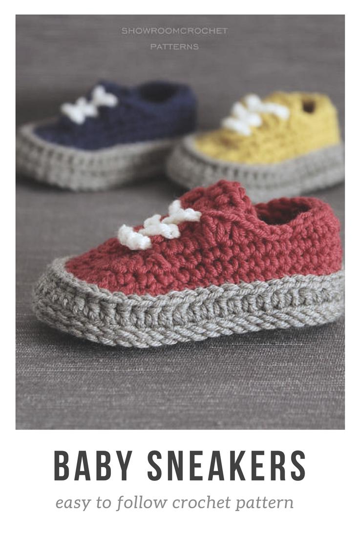 0bcbaab3430 Amazingly well written baby sneaker crochet pattern, impossible to ...
