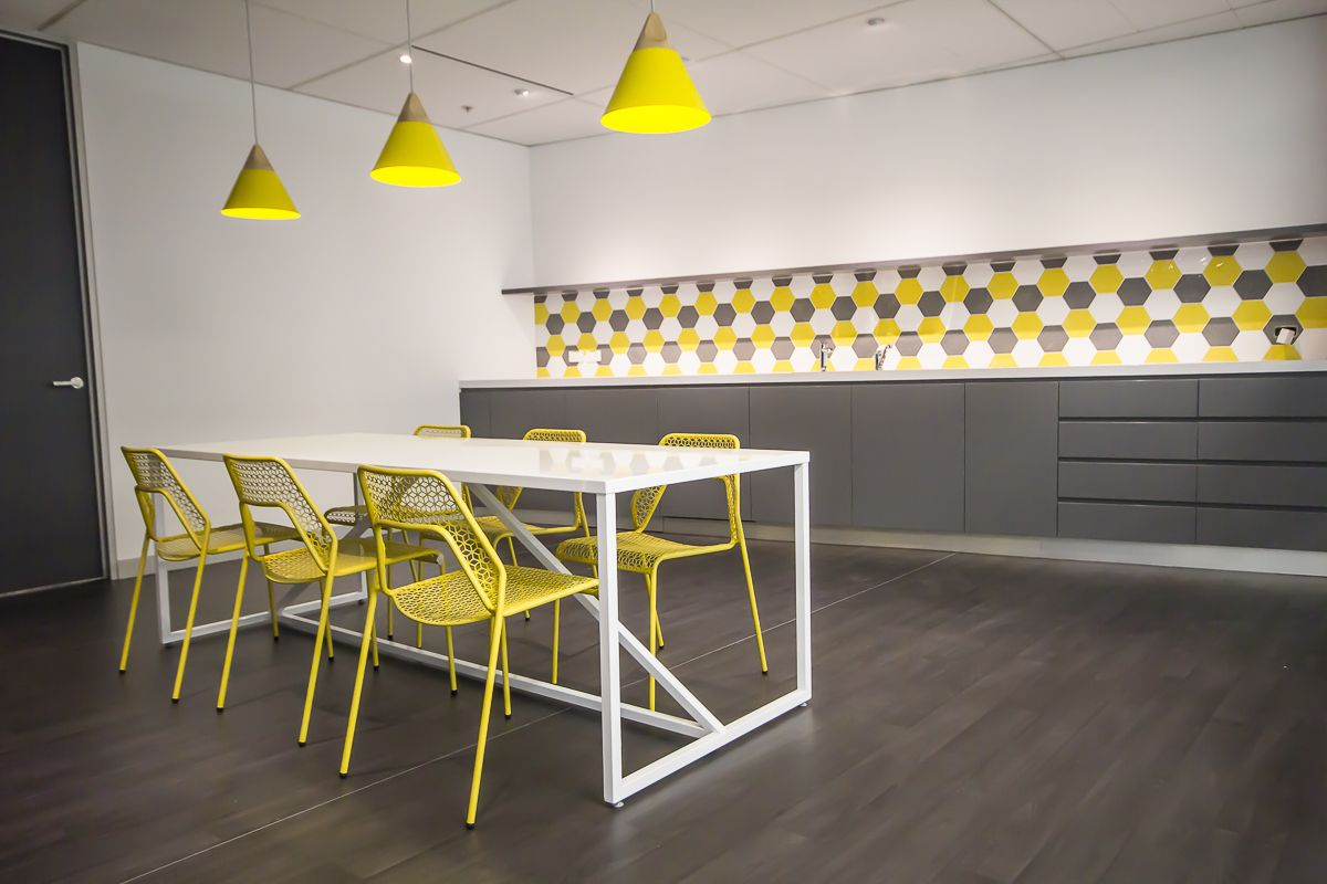 Office Furniture. Retro Office. Funky. Modern. Work. Splash Of Colour.  Break Out Area Chairs. Minimalist Furniture. Storage. Honey Bee Design.