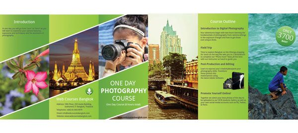 web courses bangkok learn graphic design making tri fold brochure