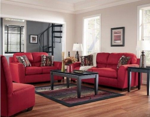 Red Sofa Shows White And Gray Walls Pamela Culligan