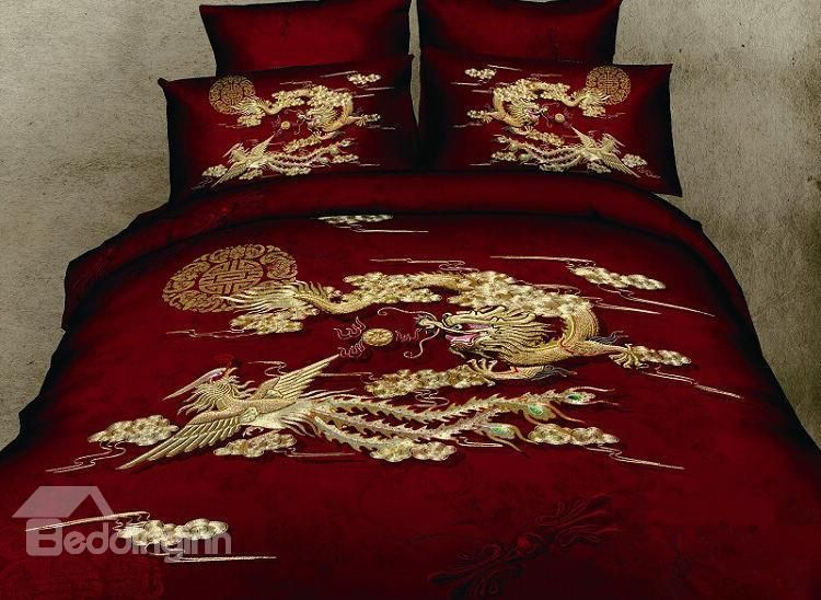 Chinoiserie Chinese Style Exquisite Dragon And Phoenix Print Red