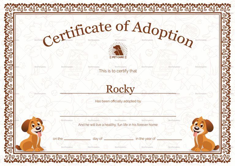 Pet Adoption Certificate Template Adoption Certificate Templates