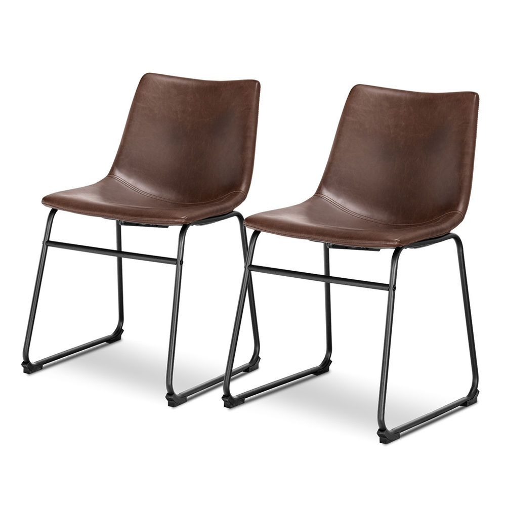 Set Of 2 Pu Leather Vintage Dining Chairs Side Chair With Metal