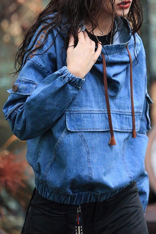 Denim Blue Embroidered  Hoodie//