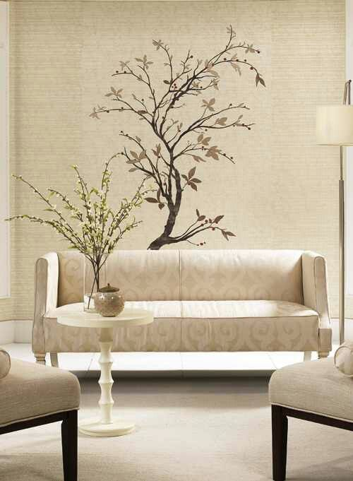 Tree Design Wallpaper Living Room: Needs A Little Color But Nice