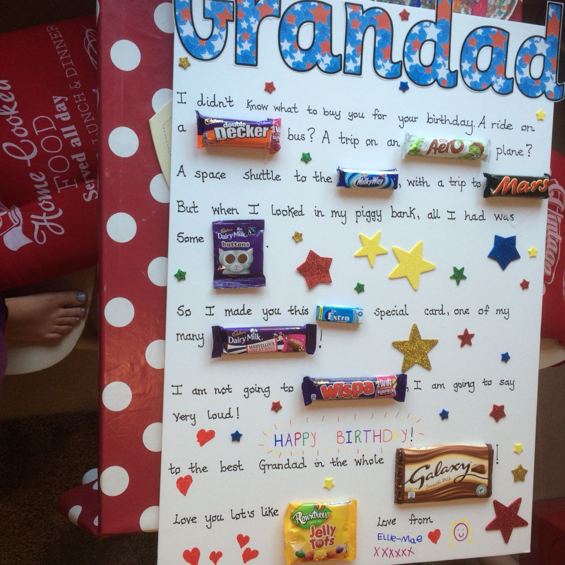 Grandad Diy Chocolate Birthday Card