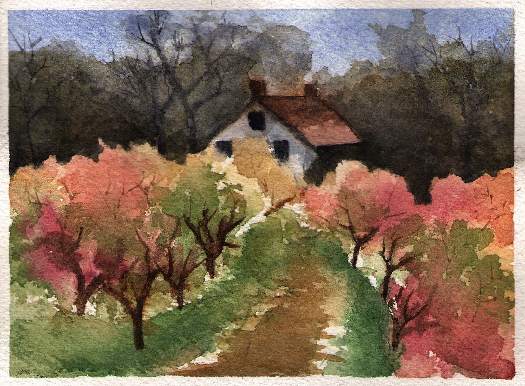 Watercolor Orchard Vineyard Art Watercolor Art Art