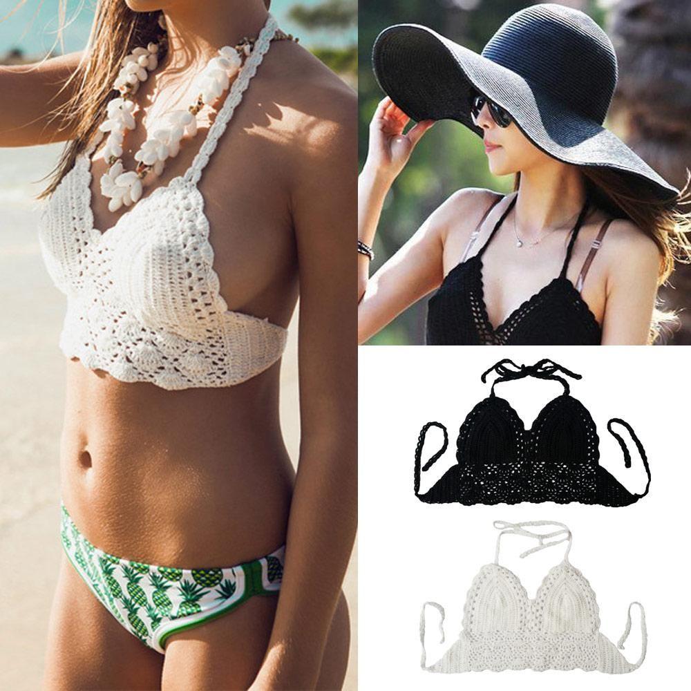 9ec72842d2 Sexy Women Crop Deep V-Neck Hollow Out Crochet Crop Knitted Bra Boho Beach Bikini  Halter Cami Tank Tops Tees G0991 from Cntomtop
