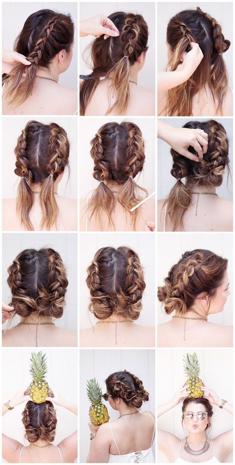 Double Dutch Braided Buns Perfect For Spring Medium Hair Braids