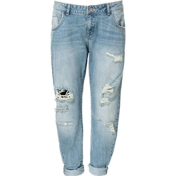 Zara Ripped Boyfriend Jeans (€25) ❤ liked on Polyvore