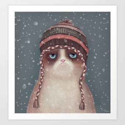 Grumpy Christmas Cat Art Print by Lime - $17.00