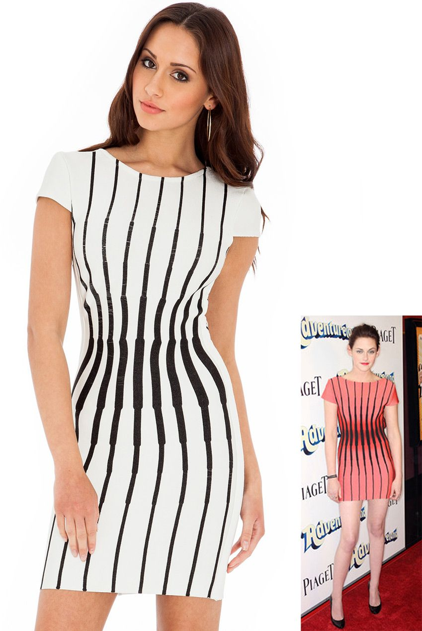 Striped bodycon dress in the style of kristen stewart show off