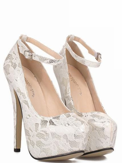 buy best speical offer outlet store Classy White Lace Ankle Strap Design High Heels Fashion Shoes ...