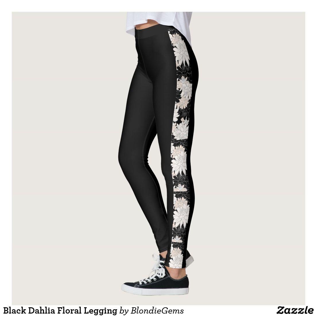 ffcbd299026f9 Black Dahlia Floral Legging   Zazzle.com   Exercise   Floral ...