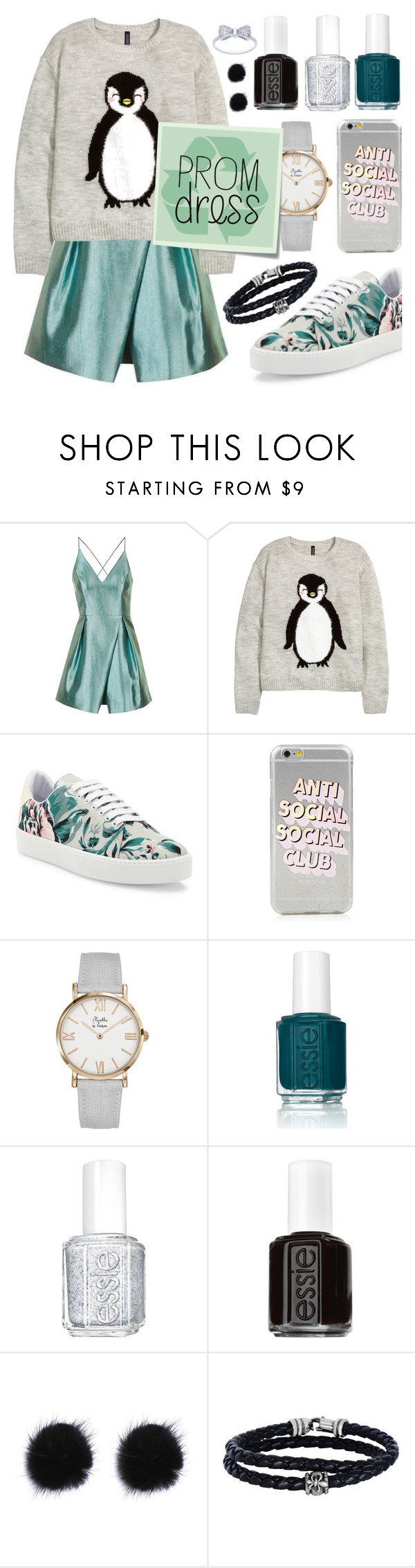 """Penguin & Recycled Prom Dress"" by tara-omar ❤ liked on Polyvore featuring Topshop, H&M, Burberry, Essie, Post-It and Phillip Gavriel"