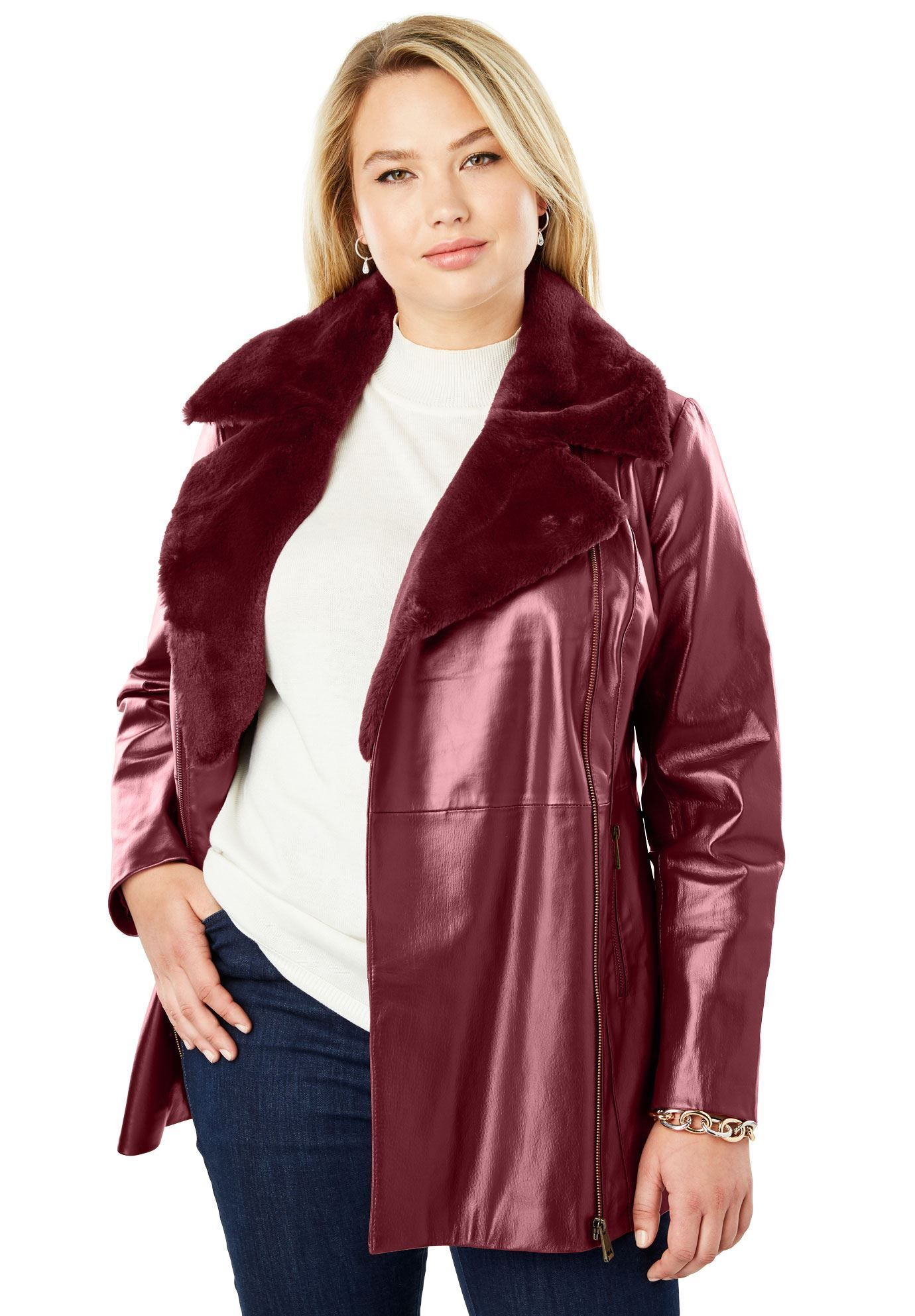 96c38a036902f Faux Sherpa Leather Jacket - Women s Plus Size Clothing