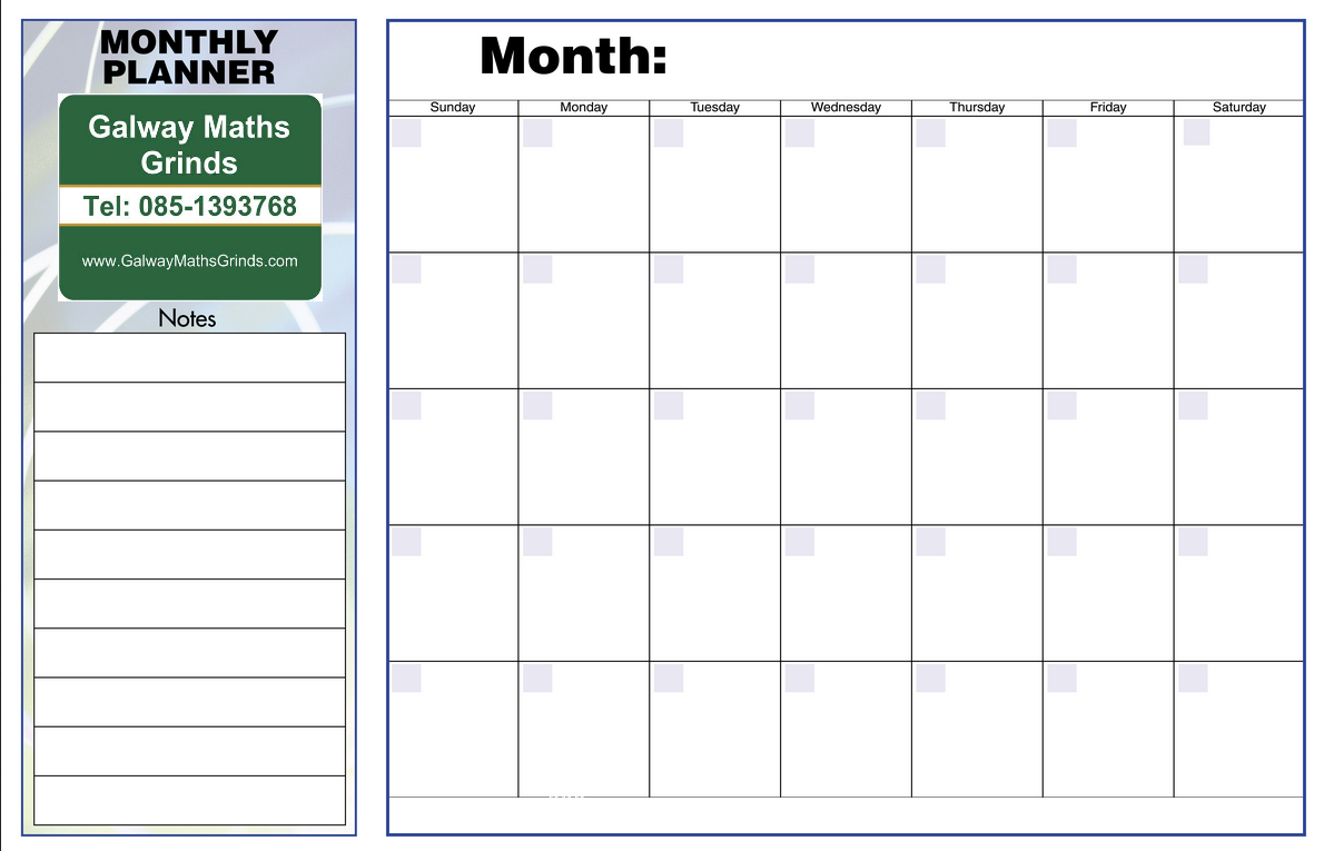 Monthly Planner Template  LeClasseurCom  Lykaprincess