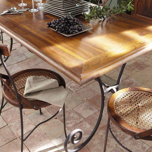 Table manger en sheesham et fer forg 8 personnes l180 for Salle a manger fer forge et bois