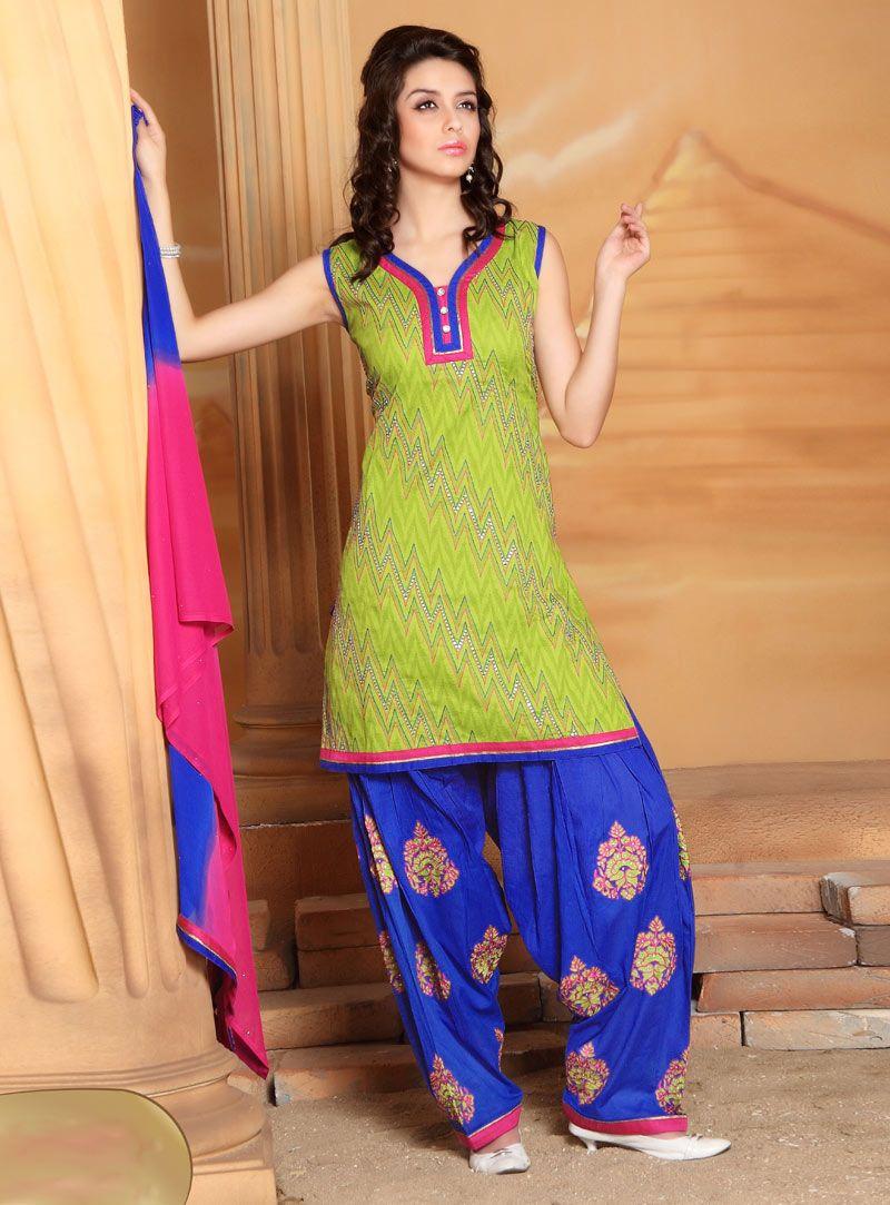 0b32594f7c Light Green Cotton Readymade Punjabi Suit 86939 | Patiala Salwar ...