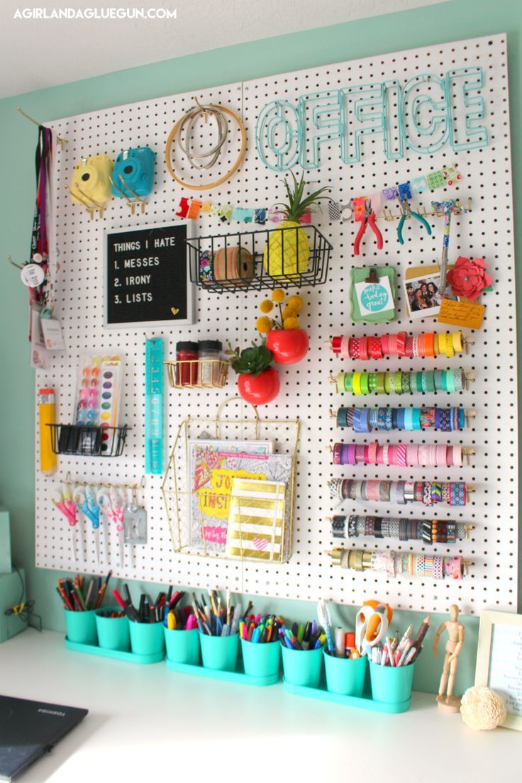 Over 30 Ways To Organize With A Peg Board With Images Craft Room Storage