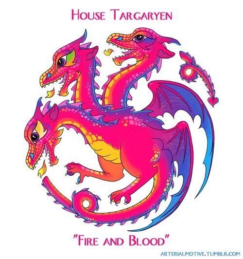 Targaryen - If Lisa Frank Designed The Game Of Thrones House Sigils