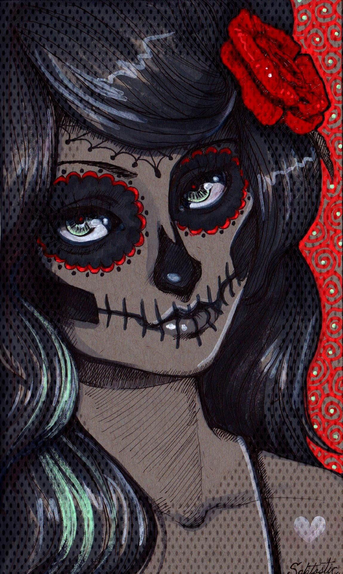 Sugar Skull Girl (drawn on gray paper and coloured with acrylic fluorescent paint markers) -