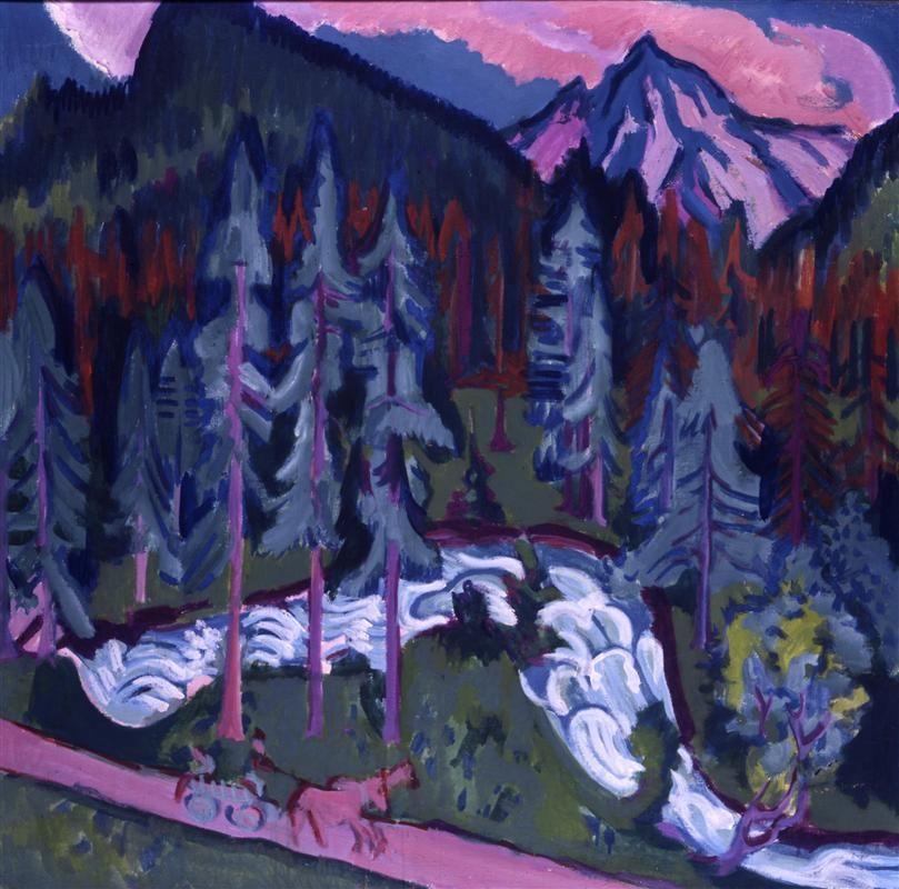 Sertigweg Artist: Ernst Ludwig Kirchner Start Date: 1924 Completion Date:1926 Style: Expressionism Genre: landscape Technique: oil Material: canvas Dimensions: 120 x 120 cm