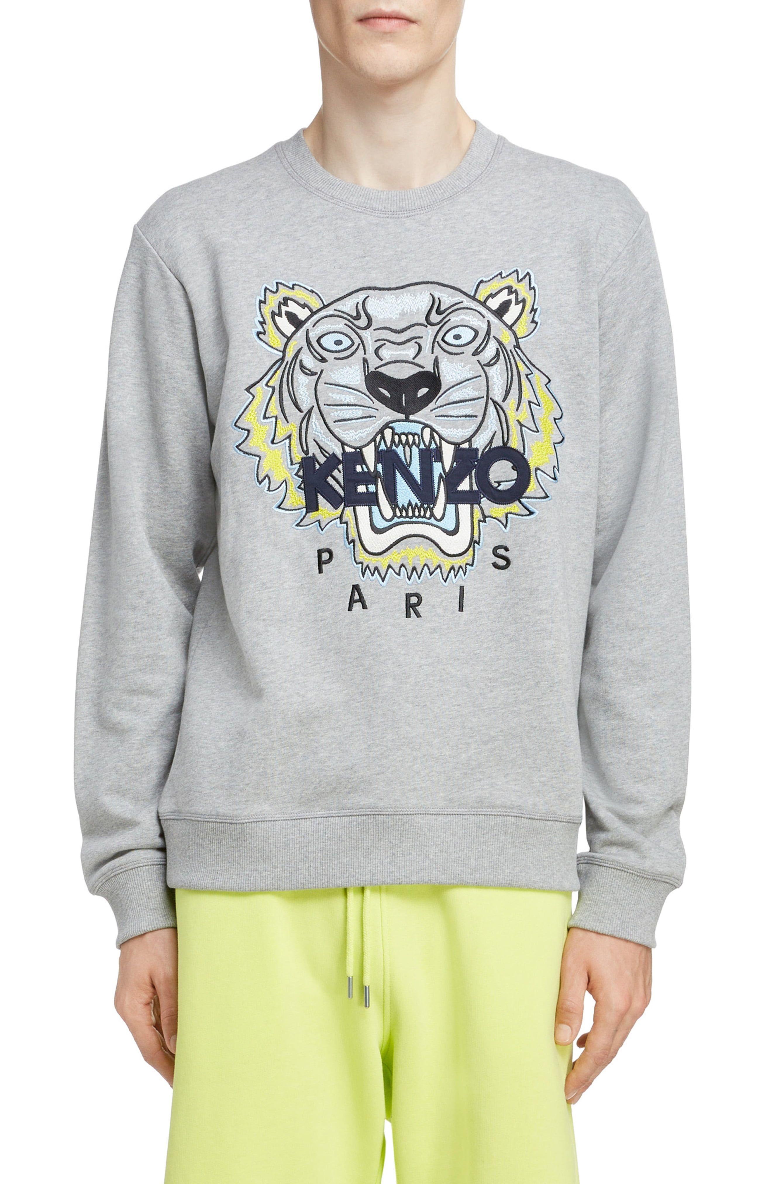 Men's Kenzo Tiger Sweatshirt, Size X Large Grey