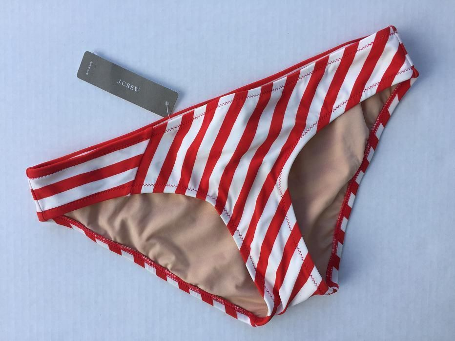 dd832880b90a1 JCrew Surf Hipster Bikini Bottom in Classic Stripe Vivid Flame Ivory $26