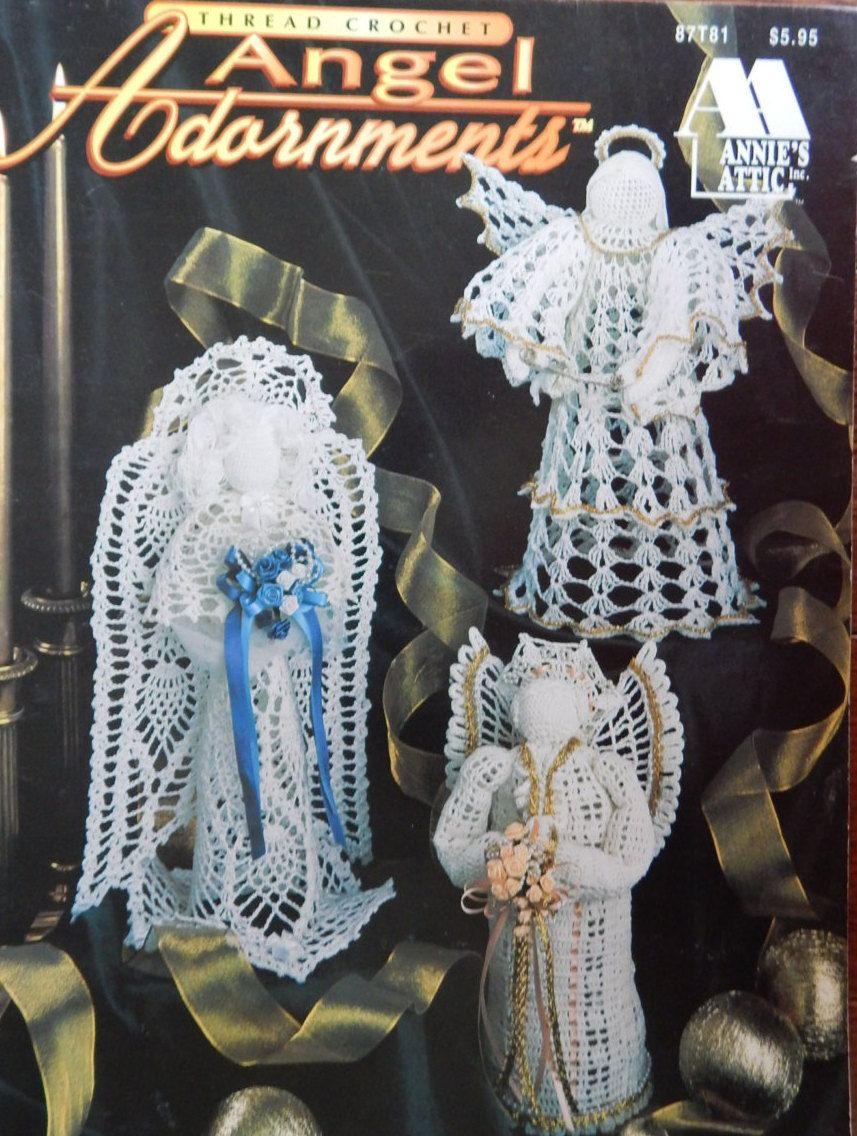 Crochet Angel Patterns/Annie's Attic Thread Crochet Angel Adornments /10 -  12 3/4 Inches Tall/wedding,ornaments,decorations,centerpiece by  RedWickerBasket ...