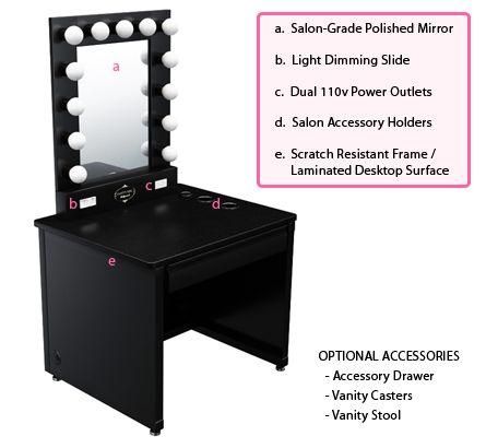 Details about Broadway Lighted Vanity Makeup Desk | Makeup desk ...