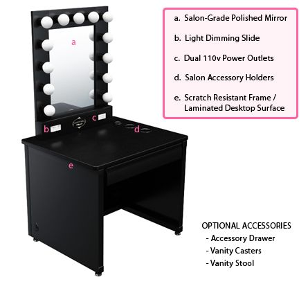 Broadway Lighted Vanity Makeup Desk   By Vanity Girl Hollywood
