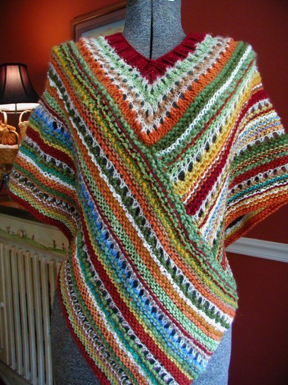 DOWNLOADABLE PDF PATTERN - Buckster\'s Knit Fall Fiesta Poncho ...