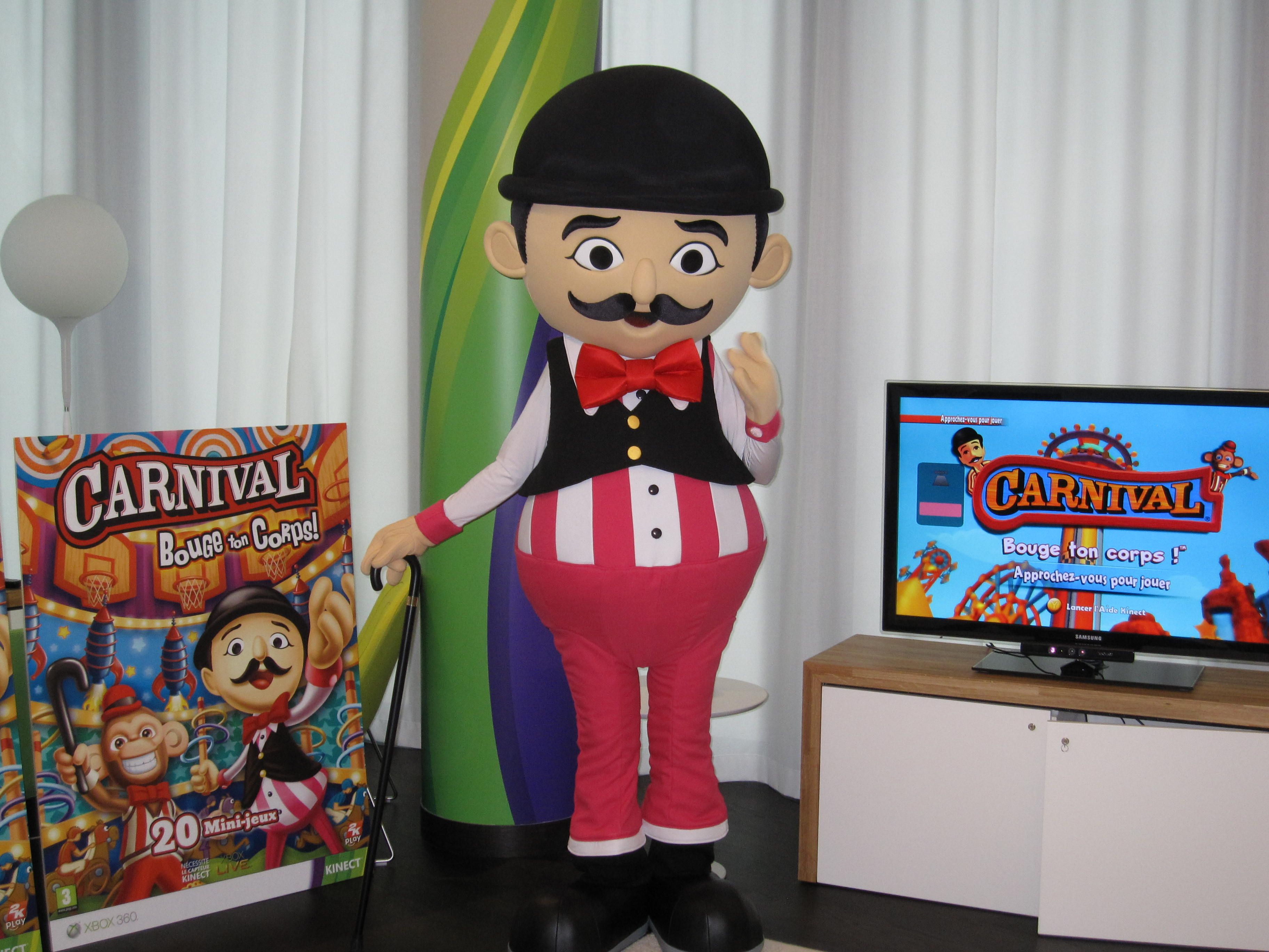 Barker carnival games mascot costume character with