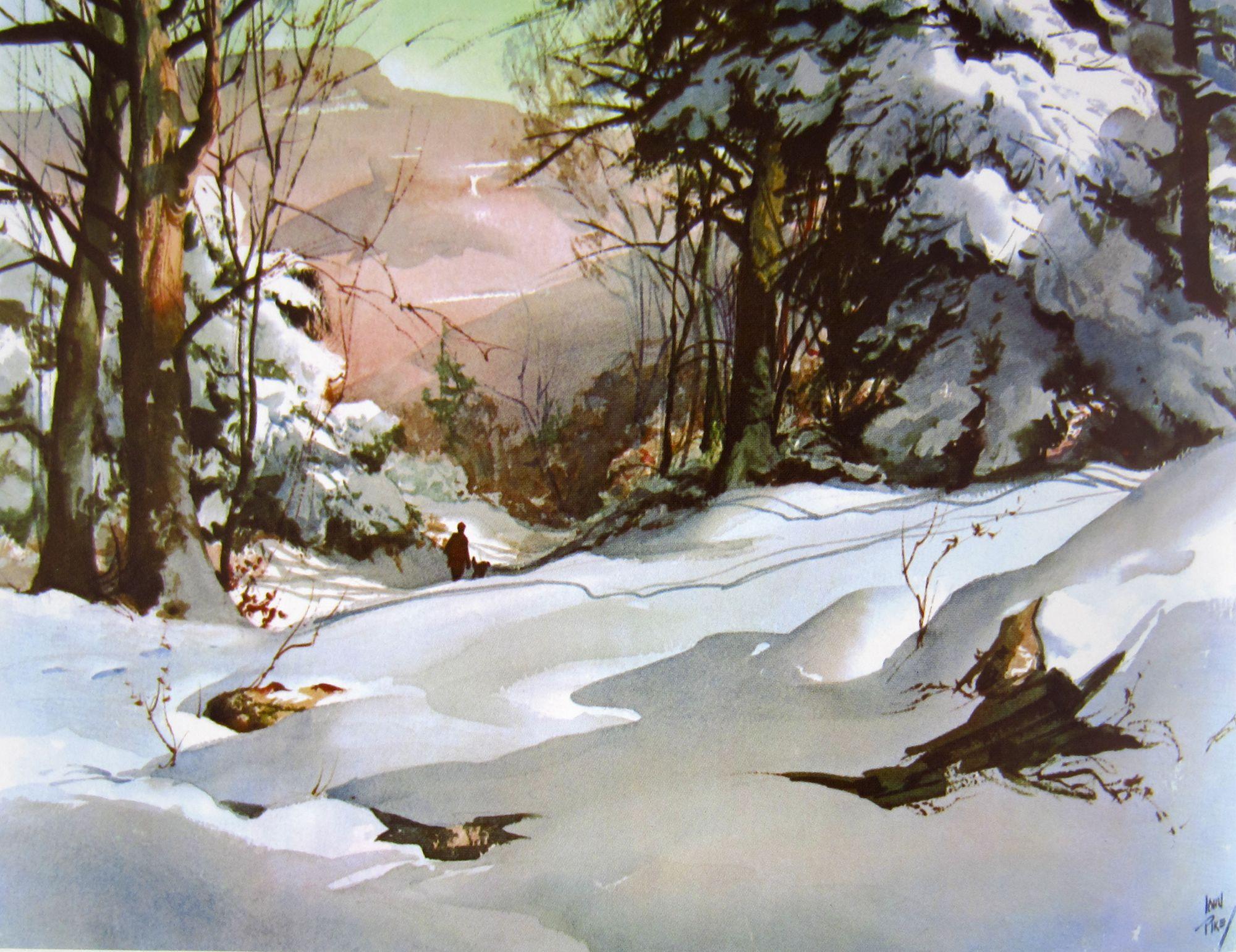 John Pike Watercolor Winterlandschaft Aquarell Kunst